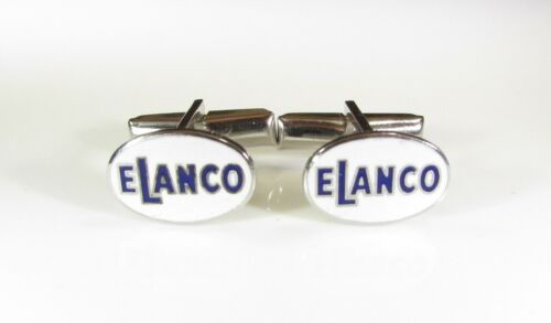 Elanco Animal Health Products Cufflinks White Enamel with Blue Lettering