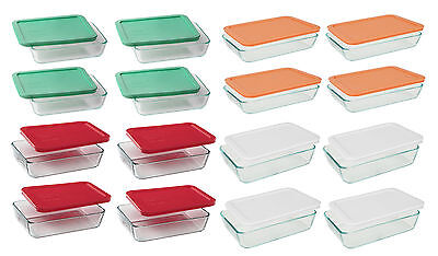 Pyrex 3,6-cup Rectangle Glass Food Storage Containers (Pack of 4), 4 Colors 6 Cup Rectangle Storage