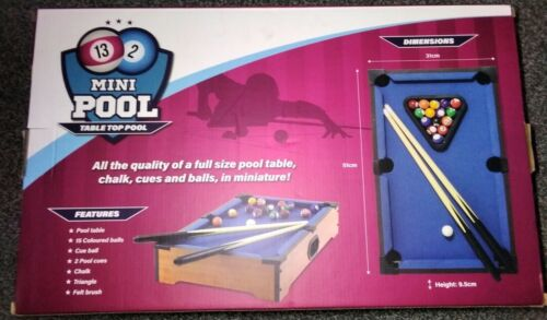 Mini Pool Table with 2 Mini Cues, chalk, brush, triangle and full set of balls