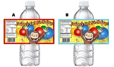 Curious George Party Supplies (CURIOUS GEORGE PERSONALIZED BIRTHDAY PARTY FAVORS WATER BOTTLE LABELS)