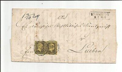 Pr. - Nr.-o / 369 je gerade + zentriert auf Paar 4a auf Kabinett-Brief 1852