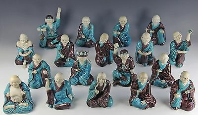 RARE COMPLETE SET OF ANTIQUE CHINESE PORCELAIN STATUES DEPICTING THE 18 ARHATS