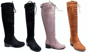 Womens-Ladies-Suede-Knee-High-Boots-Shoes-Block-Heel-Lace-Up-Sexy-Boot-Casual-UK