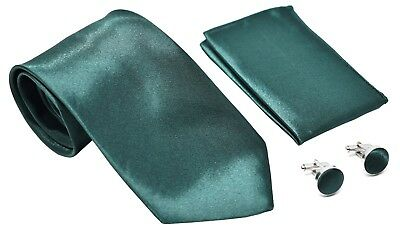 Kingsquare Solid Color Men's Tie, Pocket Square, and Cufflinks set (Green)