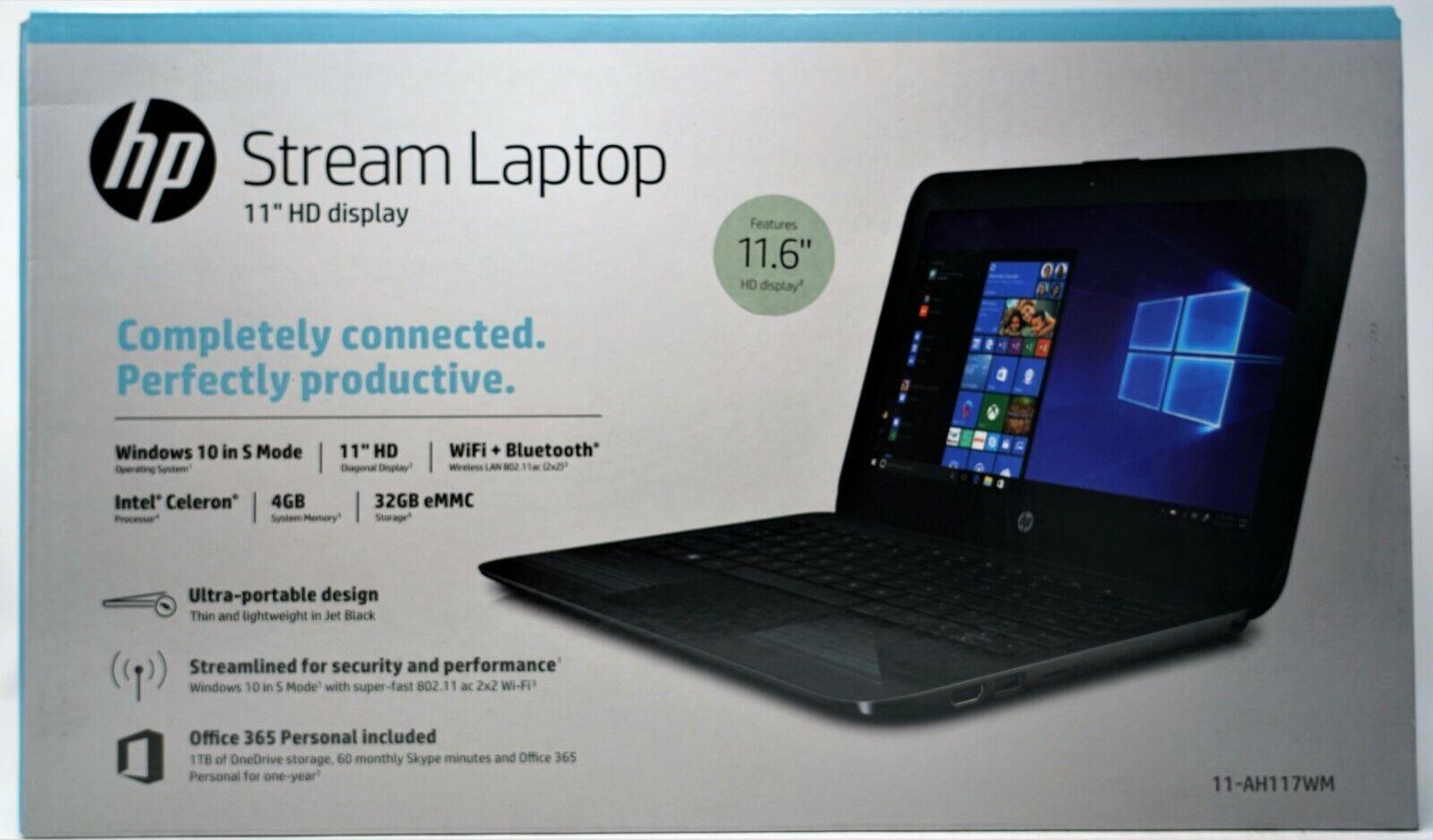 "Laptop Windows - NEW HP 11-ah117wm Streambook 11.6"" HD N4000 4GB RAM 32GB eMMC Windows 10 Black"