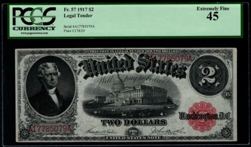 1917 $2 Legal Tender PCGS 45 Fr.57 United States Note Item #80585459