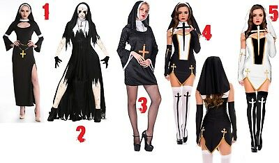 Nun Costume Adult Women Cosplay Sexy Dress Halloween Sexy , Zombi , Vampire Nuns - Halloween Costume Nun