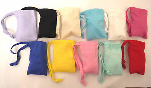 Small-Drawstring-Cotton-Gift-Bags-6cm-x9cm-gifts-jewellery-party-many-colours