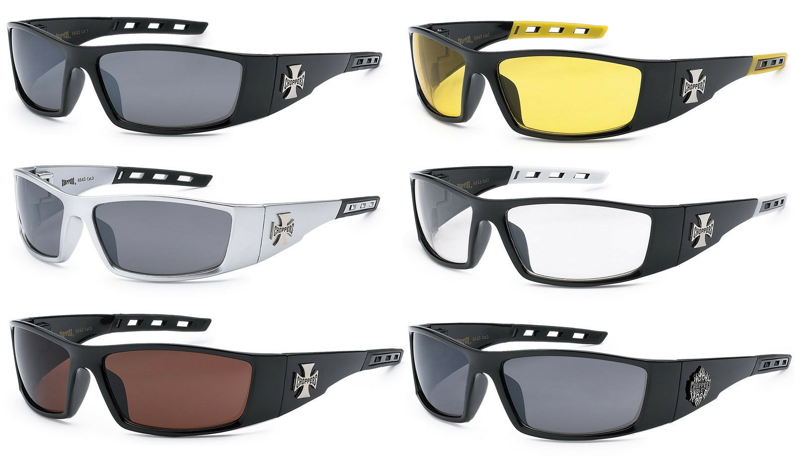 9c7a9da297f31 Choppers Sunglasses Motorcycle Riding Glasses Wrap Around 7 colors ...