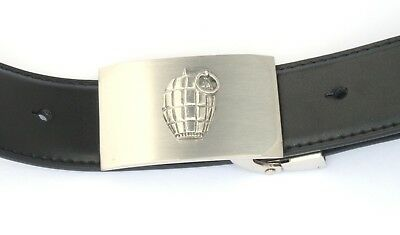 Grenade Belt Buckle and Leather Belt in Gift Tin Ideal Military Gift 163