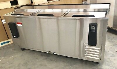 Back Bar Bottle Beer Cooler New Stainless 80  Refrigerator 6 Slide Top 3 Door