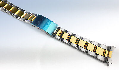 18mm 19mm 20mm Two-Tone Stainless Steel WATCH Bracelet Band w Curved Ends