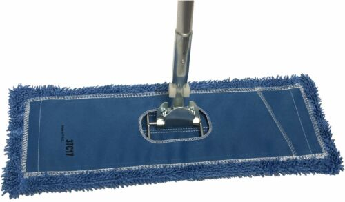 "Dust Mop Kit: 18"" Blue Industrial Microfiber Dust Mop, Wire Frame & Handle"
