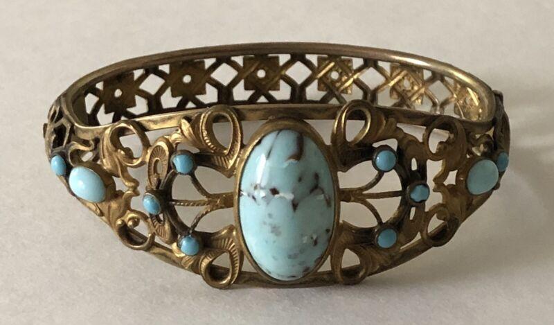 Period Art Noveau gilded brass bracelet