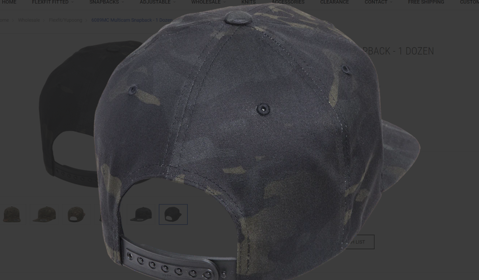 Yupoong® 6089MC BLACK Multicam Snapback Hat Camo Classic Adjustable Camouflage