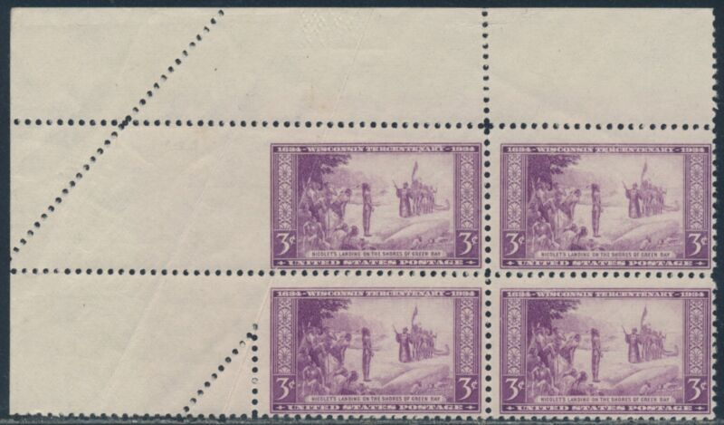 #739 Var. 3¢ Wisconsin Issue Blk/4 With Fold-over Error Br4970