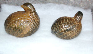 2-VINTAGE-QUAIL-PARTRIDGE-Statues-Painted-Ceramic-Numbered
