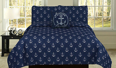 Nautical Anchor Quilt Twin Full/Queen or King Navy Blue Bedspread Bedding Set ()