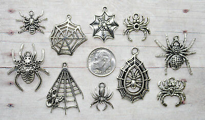 10pc Halloween Spiders Charm Set Lot Collection/Jewelry/Web,Spider,Insects,Bugs (Halloween 10)