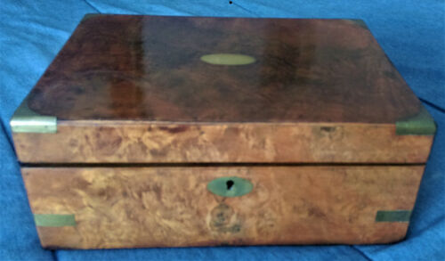 Gorgeous 19th C. Burl wood Travel Desk / Writing Slope, Restored Interior