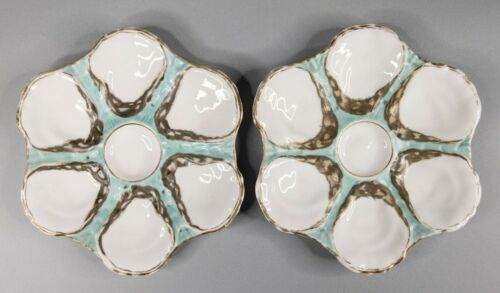 Pair of Antique Limoges French Teal Oyster Plates