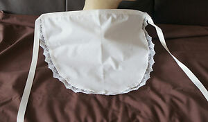 WHITE WAIST APRON LACE TRIMMED 50'S STYLE / FRENCH SISSY MAID PINNY * POST FREE