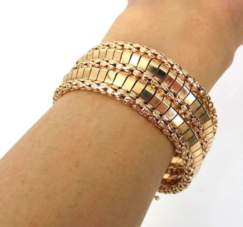 1950's Retro European 18k Rose Gold Geometric Wide Design Bracelet