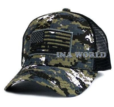 USA American Flag hat Mesh Tactical Operator Snapback Baseball cap- Black camo