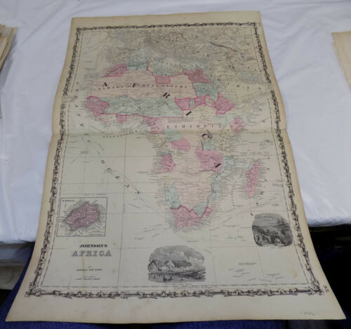 1862 Antique COLOR Map///AFRICA, published by Johnson and Ward