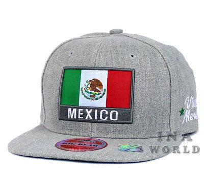 MEXICAN hat MEXICO Flag hat Snapback Flat bill  Baseball cap - Heather Gray