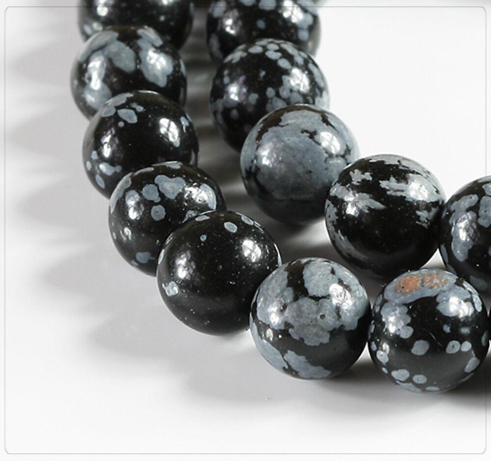 10x Schneeflocken Obsidian Perlen Beads Schmuck DIY Basteln Kugel 10mm ps064