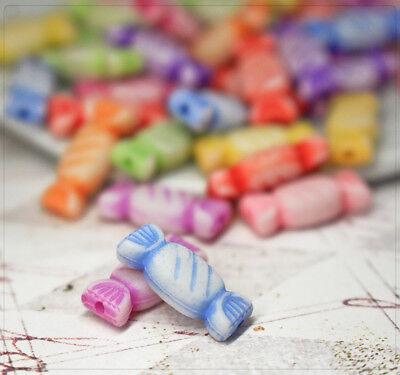20x Acryl Perlen Bonbons Süßigkeiten Essen Deko Mix Schmuck DIY Basteln