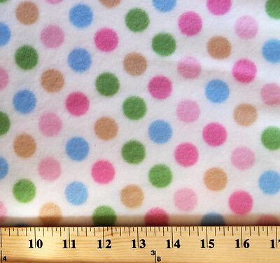 Medium Dot White Multi Dots Fleece Fabric Print by the Yard A229.01