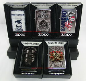 zippo 5 x soa sons of anarchy real sons samcro fear. Black Bedroom Furniture Sets. Home Design Ideas