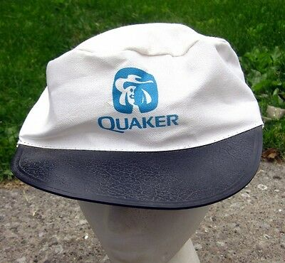 QUAKER OATS vtg painters cap 1980s biscuits Puritan Man logo hat Ohio vinyl bill](Puritan Hats)
