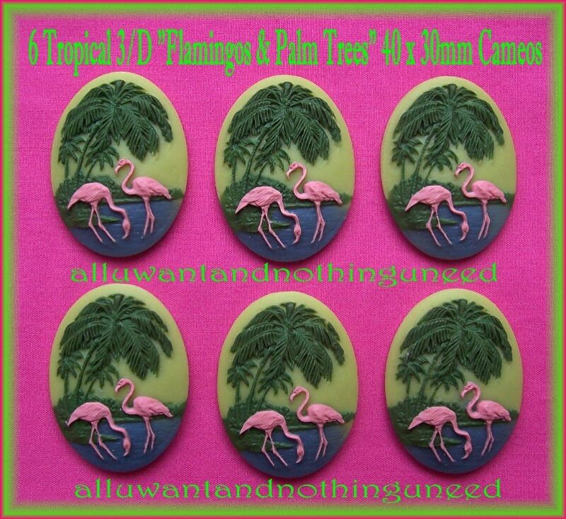 6 PINK FLAMINGOS 3D PALM TREES on Green 40mm x 30mm Costume Jewelry Craft CAMEOS