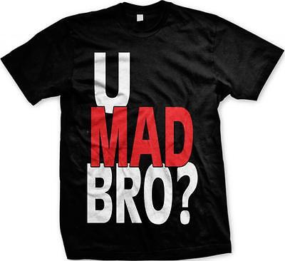 U Mad Bro? Red and White Hot Trendy Funny Sayings Slogans Mens T-shirt