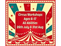 Kids Circus & Aerial Summer One day Workshops 26th July & 31st August