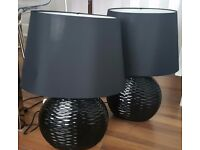 2 black table lamps, 1 yr old in good condition.