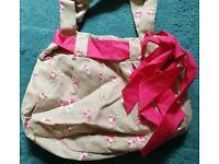 Floral Handbag - beige and pink fabric