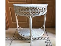 Lloyd Loom style half moon white wicker table
