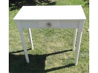 Feminine And Pretty Small White Wooden Vintage Desk With Embellished Draw