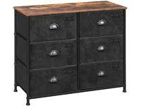 Fabric Drawer Dresser, 6-Drawer Wide Storage Dresser