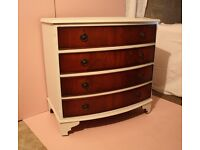 Vintage Bow Front Chest of Drawers - Mahogany & Very Pale Blue/Whitey Blue - Regency Style (Repro)