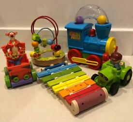 5 of Toys, Train, Tractor, Tiger pull back Car, Xylophone