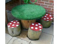 Childrens toad stool garden set