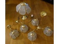 Brass Glass Ceiling Light Fitting 3 arm + 2 matching Wall Lights and Table Lamp