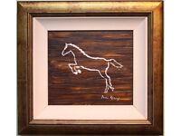 WHITE STALLION HORSE Original Framed Oil Painting by Irish Artist PAUL REILLY