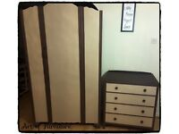 Bedroom Furniture Wardrobe & Chest of Drawers Hand Painted in Butterscotch&Honfleur Chalk Paint