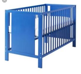 Blue Ikea cot bed - good condition 120/60cm mattress not included